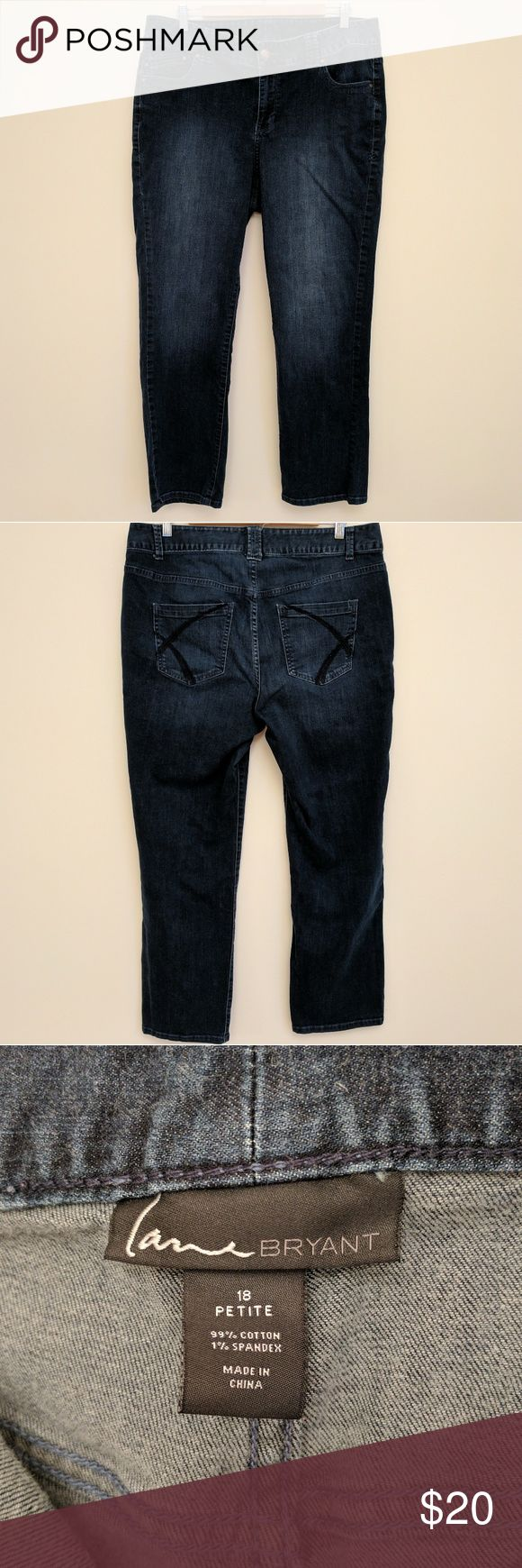 Lane Bryant petite length straight leg jeans Lane Bryant petite length straight leg jeans.  Dark rinse.  Excellent used condition.  Smoke free, pet free home.  ***Make me an offer!*** Lane Bryant Jeans Straight Leg