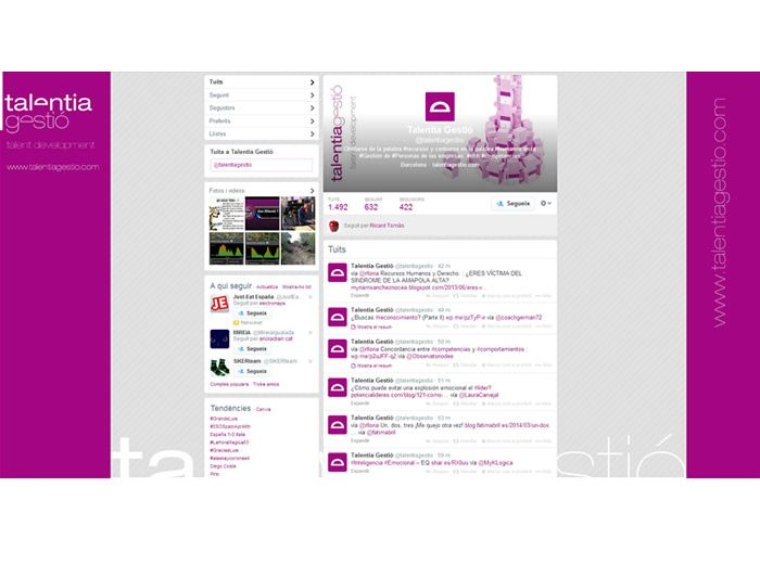 Diseño de la página de twitter de Talentia
