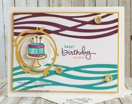 "Endless Birthday Wishes Stamp Set; Dazzling Diamonds Glimmer Paper; Whisper White, Hello Honey, Blackberry Bliss & Bermuda Bay CS; Memento Tuxedo Black, Blackberry Bliss, Bermuda Bay & Hello Honey Inks; Swirly Scribbles Thinlets; 1 1/2"" Circle Punch; Hello Honey Buttons (2015 SAB); Basic Jewel Rhinestones."