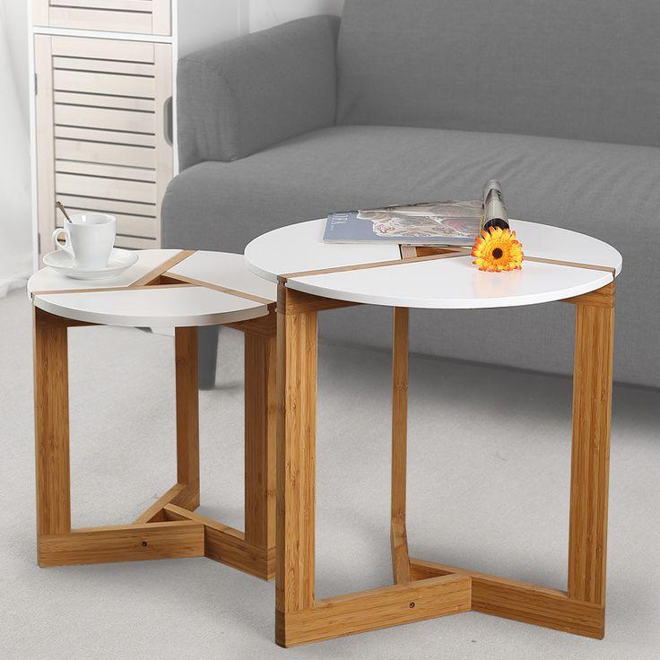 Lanskaya Creative Modern Bamboo Coffee Table Side Table Living Room Sofa Tea Home Wooden Craft White