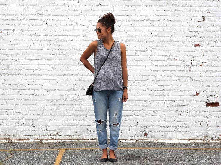 love the gray tank, shoes, and boyfriend jeans (good even when not pregnant!).