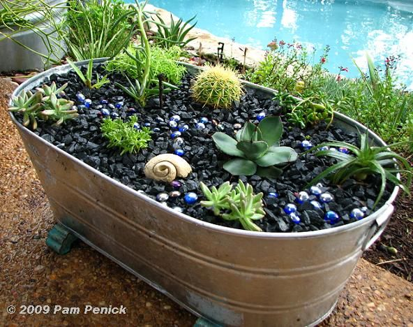Succulents In A Galvanized Planter. Love The Combo Of Succulents, Rocks U0026  Glass Beads