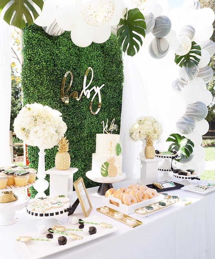 Tropical sweet table from a Modern Hawaiian Baby Shower on Kara's Party Ideas | KarasPartyIdeas.com (13) #decoracionbabyshower