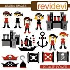 Pirate clip art (map, kids, castle).  Cute clip art set for teachers and educators. Great resource for any school and classroom projects such as fo...