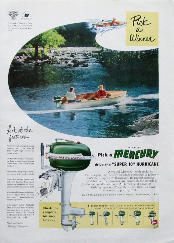 1951 Mercury Outboard Motors Ad - Super 10 Hurricane Motor - 1950s Couple Fishing - Retro Fishing Ad - Vintage Advertising Print
