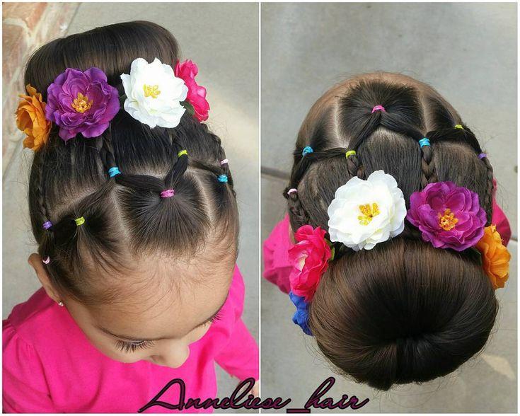 Fun elastics pattern then regular 3 strand braids into a bun. #hotd #hairforlittlegirls #toddlerhairideas #toddlerhair #easytoddlerhairstyles