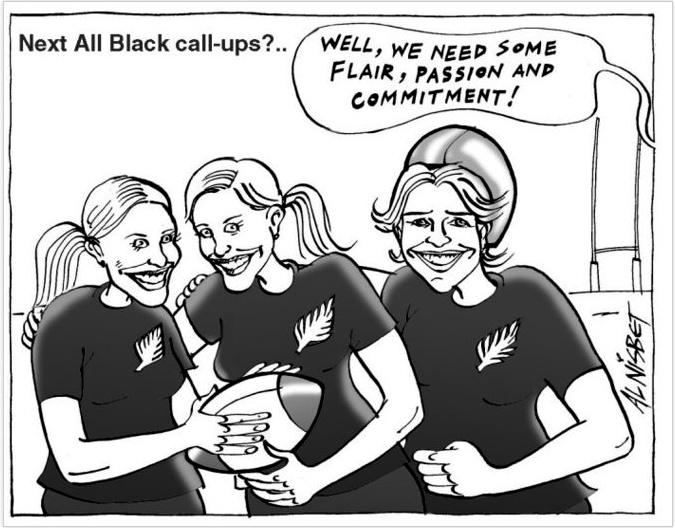 Shows Olympic rowers Georgina and Caroline Evers-Swindell, and Olympic cyclist Sarah Ulmer wearing All Black t-shirts and standing on a rugby field. Refers to their recent Olympic gold medals and jokes that they should be part of the All Blacks rugby team. 25 August, 2004