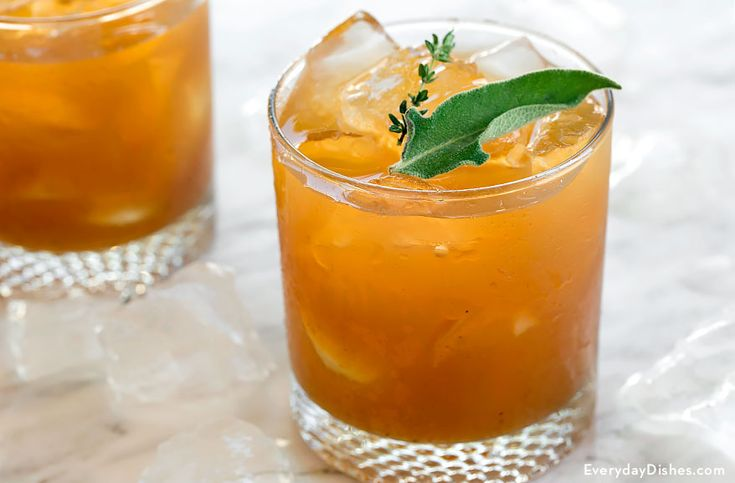 Make a sparkling whiskey cocktail with ginger ale, thyme and sage.