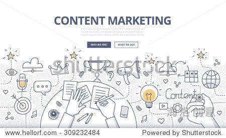 涂鸦设计风格创造的概念,营销和数字内容的分享。现代线条样式说明网页横幅,英雄形象,印刷材料-科技,抽象-海洛创意(HelloRF)-Shutterstock中国独家合作伙伴-正版素材在线交易平台-站酷旗下品牌