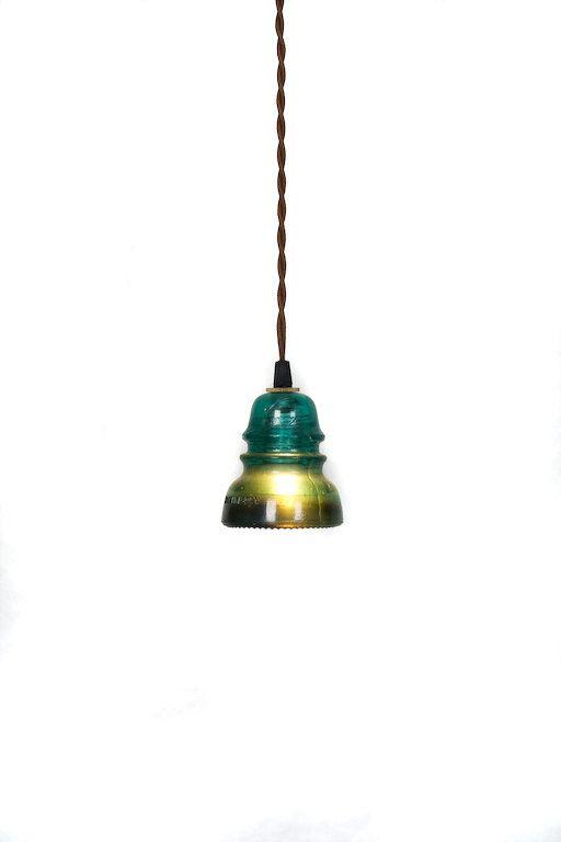 Vintage Repurposed Railroad Telegraph Insulator Pendant LightPendants Lamps, Basement Bars, Turquoise Pendants, Vintage Pendants, Coolest Lights, Insulators Pendants, Pendants Lights, Glass Insulators, Glasses Insulators