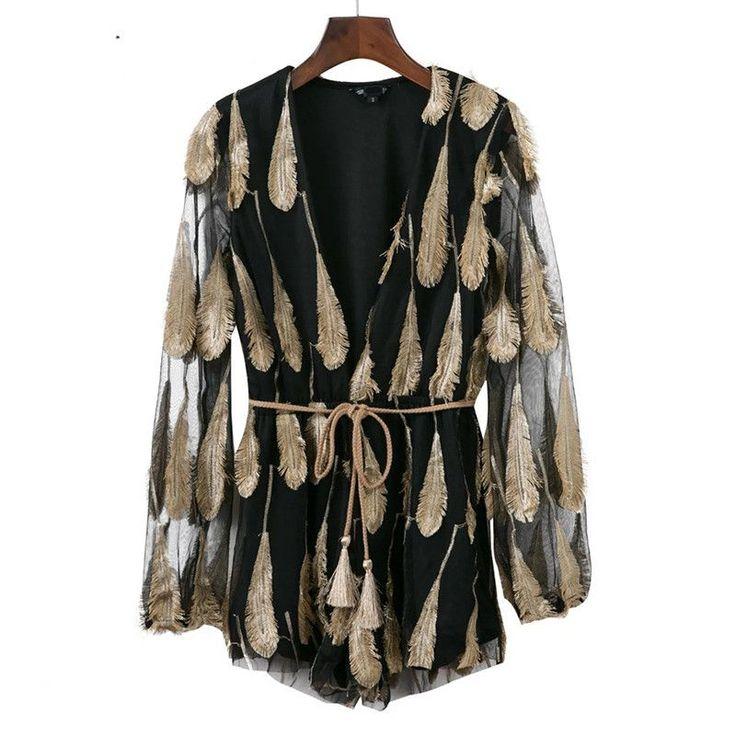 Feather Elegant Jumpsuit Romper Lace Up Transparent Mesh Sleeve Gold Playsuit Women Sexy Deep V Neck Black Overalls