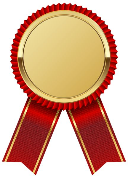Gold Medal with Red Ribbon PNG Clipart Image