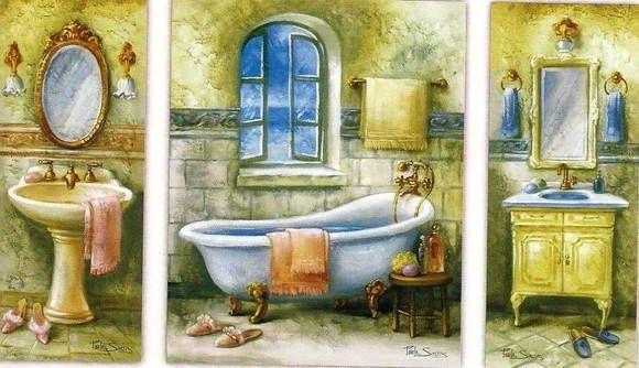 Laminas para arte francesa  com banheiro. Laminas feitas de reproducao de artistas . usadas para arte francesa. Efeito tridimensional volumoso e muito bonito. Preco sob consulta 12x30-45030 24x30-45031 12x30-45032