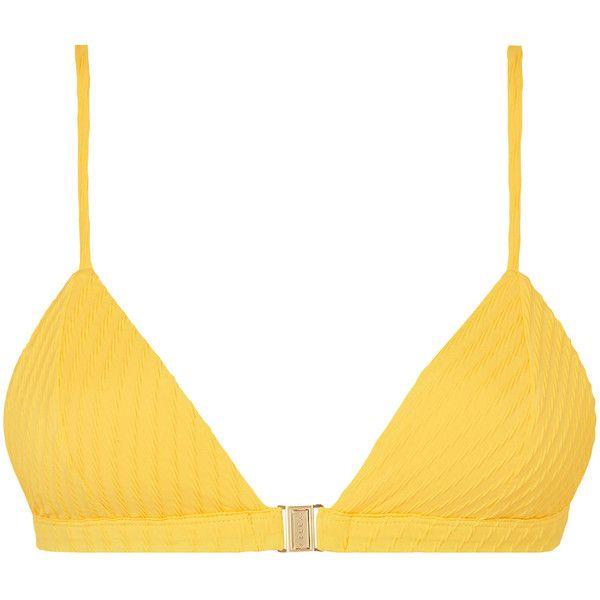 Fella Louis The III Clasp Bikini Top ($125) ❤ liked on Polyvore featuring swimwear, bikinis, bikini tops, yellow, triangle bikini top, triangle swim top, triangle swimwear, yellow bikini and yellow bikini top