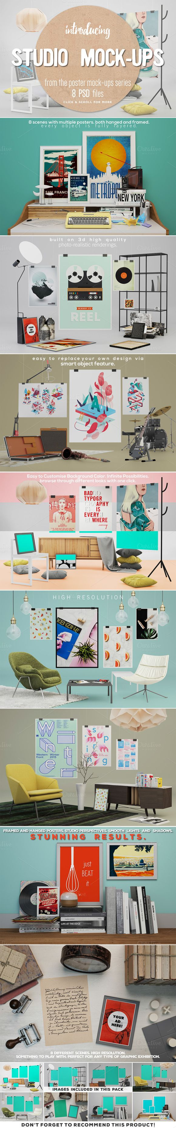 8 Studio Poster Mock-ups by DESIGNbook on Creative Market