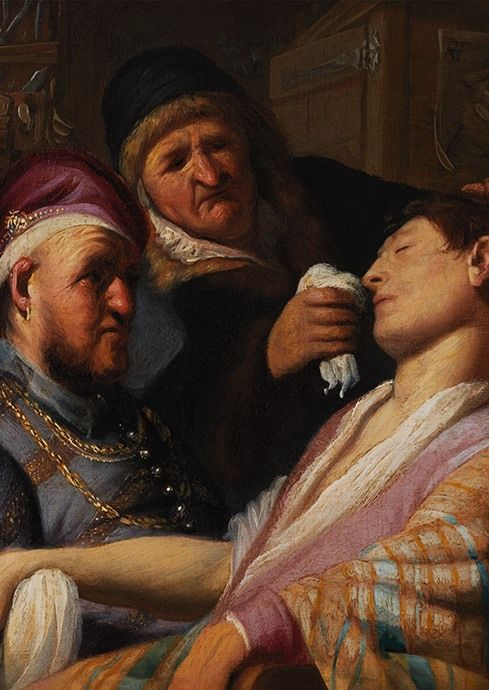 Rembrandt, 'The Unconscious Patient (Smell)', c. 1624, The Leiden Collection, New York. We see an unconscious young man, judging by his closed eyes and pale skin. The two figures beside him are a quack and his assistant. The young man has been subjected to bloodletting, a common treatment for many ailments in the 17th century. He was clearly not supposed to faint during the procedure - the white cloth was probably dipped in smelling salts that release ammonia, to bring him round.
