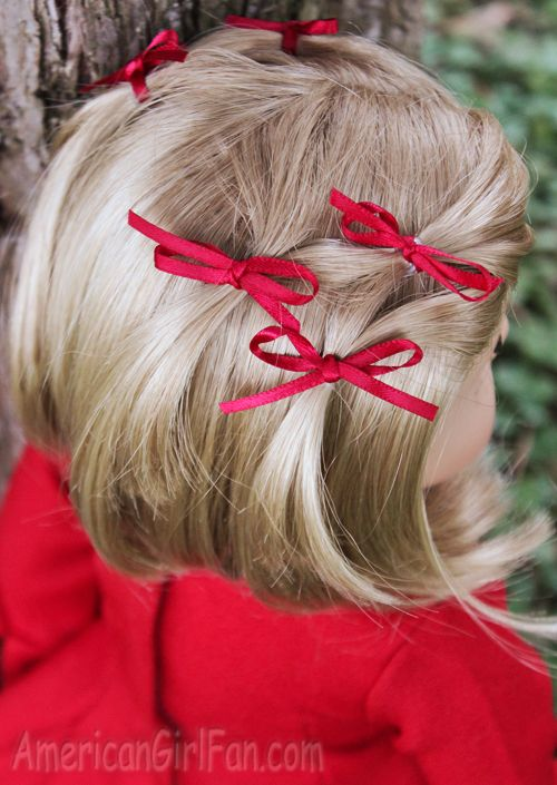 Doll Hairstyle: Bitty Bow Ponytail Veil! - http://www.americangirlfan.com/2014/12/american-girl-doll-hairstyle-fancy-bitty-bow-veil.html