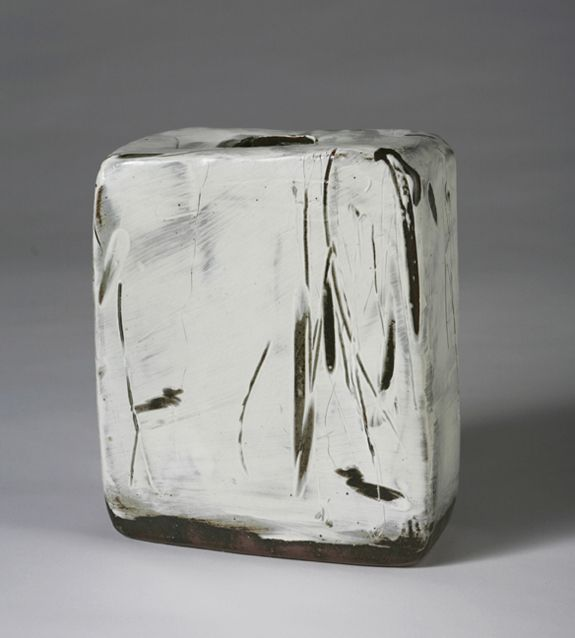 Sung Jae Choi, Buncheong Trapezium Vase, White slip with incised and finger wipe decoration, Stoneware, 9 ½ x 8 x 3 ½""