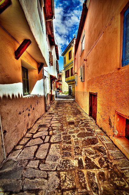 Old street of Kavala, Greece.