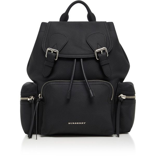 Burberry Rucksack Medium Leather Backpack ($1,995) ❤ liked on Polyvore featuring bags, backpacks, backpack, bags/purses, black, purses, leather knapsack, military daypack, military backpacks and genuine leather backpack