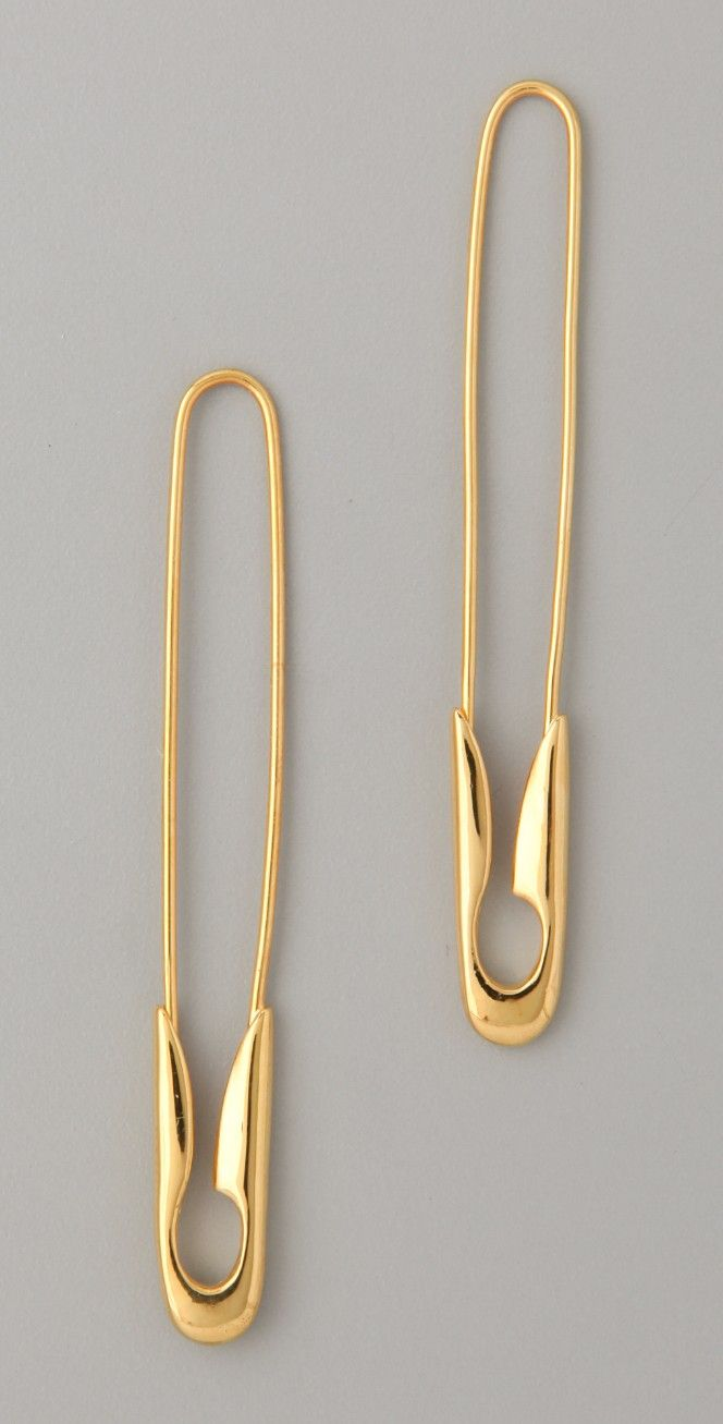 TOM BINNS Small Gold Safety Pin Earrings | SHOPBOP