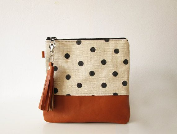 Polka dot clutch bag, Pouch, Canvas and leather clutch purse, Leather tassel, Hand stamped