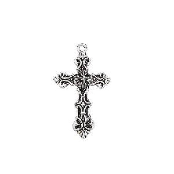 Hanger kruis antiek zilver