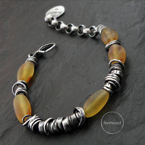 Bracelet is made of oxidized and rubbed silver 925, baltic amber 0,51-0,75 inches (13-19 mm)  Dimensions: The whole length 8.8 inches / 22,5 cm