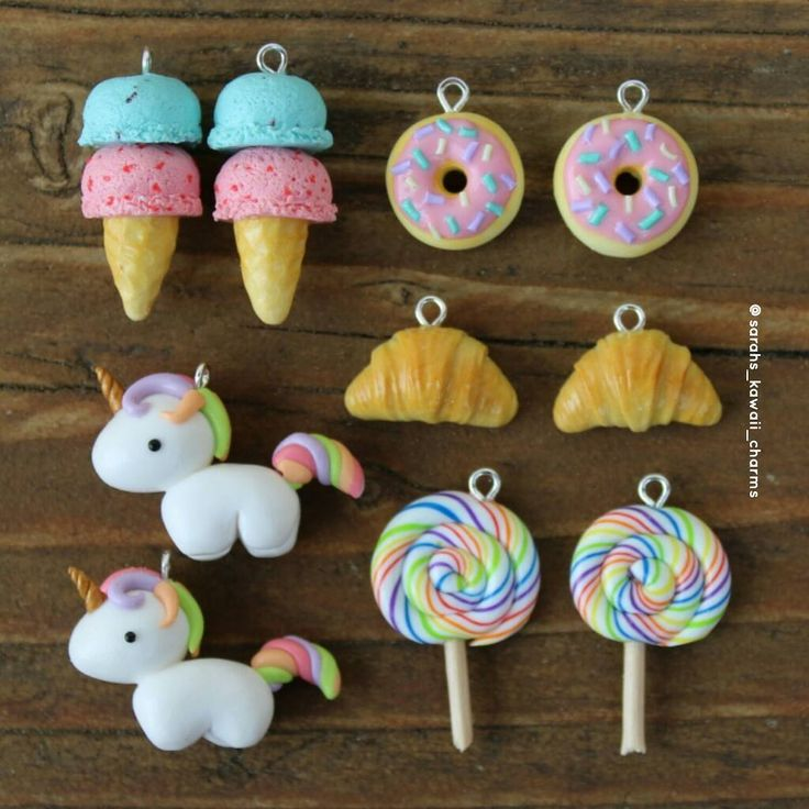 "Gefällt 3,284 Mal, 25 Kommentare - Sarah (@sarahs_kawaii_charms) auf Instagram: ""Custom order I made recently!ice cream cones, donuts, croissants, lollypops and unicorns!Hope you…"""