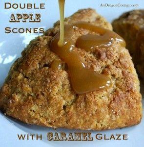 ... Apple Scones with Caramel Glaze | Apple Scones, Scones and Glaze