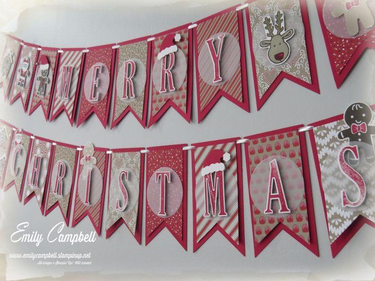 Christmas banner using 2016 Stampin Up Holiday Catalogue products Tiny Kiwi Cards: ESAD Holiday Catalogue Blog Hop