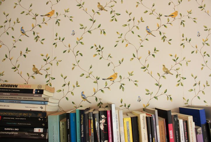 wallpaper and books.