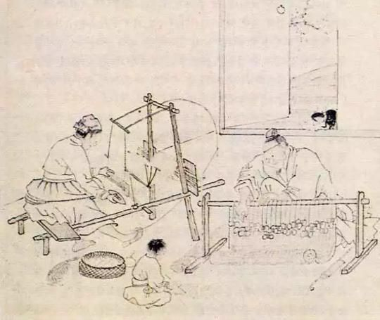"""Weaving a straw Mat(자리짜기)"" painted by Kim Deuk-sin(金得臣, 1754-1822)"