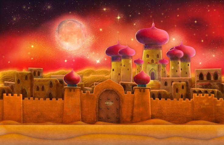 Fantasy Pencil Landscape With Castle Aladdin Castle