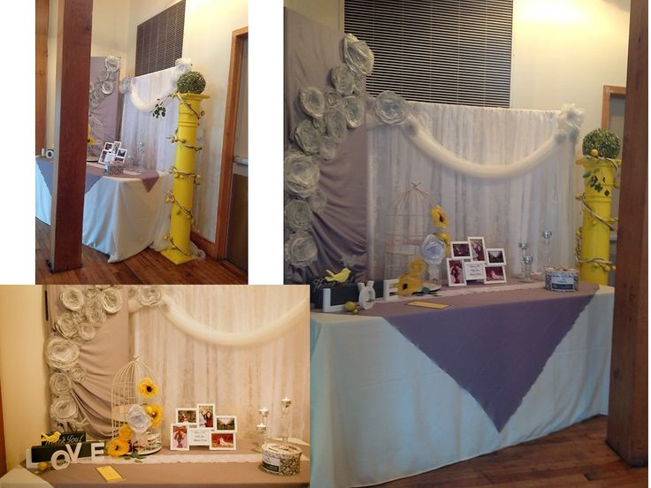 #VINTAGE, lace, yellow & gray wedding, welcome table backdrop