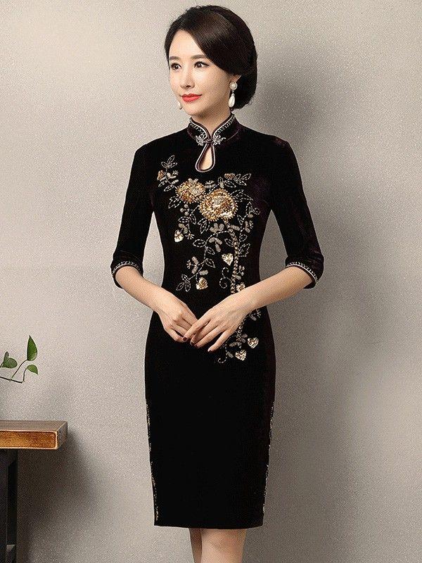 Sequined Velvet Midi Qipao / Cheongsam Dress