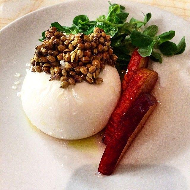 @dayglo1:  Burrata, nectarines, corriander sides, white balsamic. NOPI Restaurant | Instagram