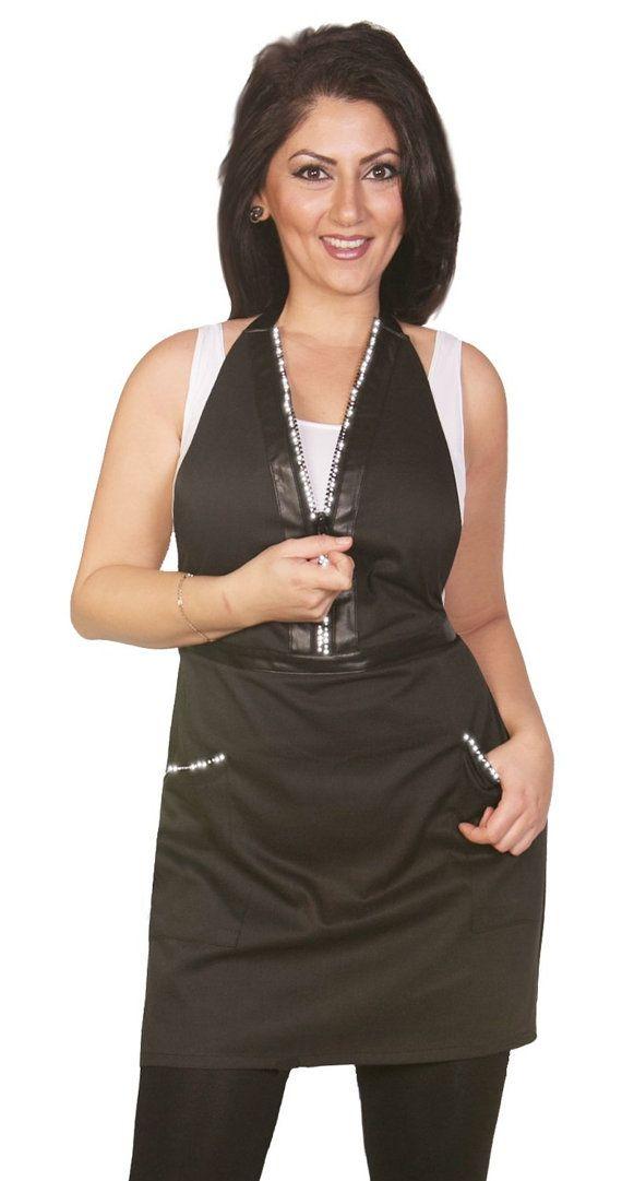 Rhinestone Zipper Apron  cute salon wear fitted by LadybirdLine, $35.00