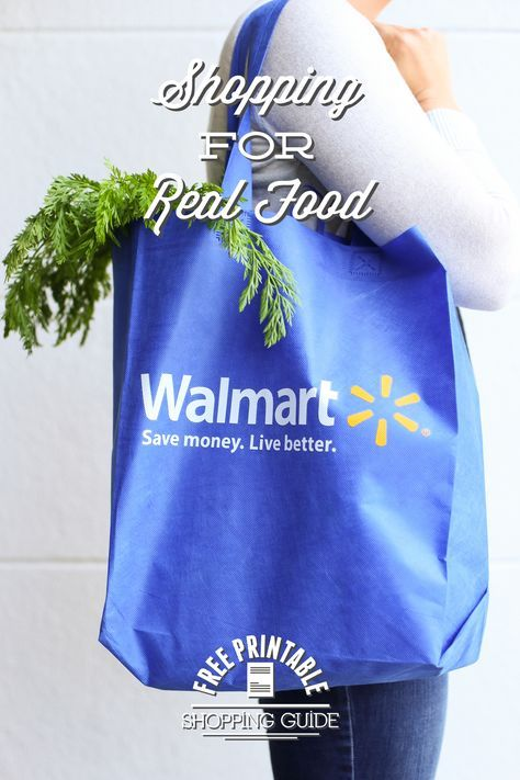 Shopping for real food at Walmart is POSSIBLE! Learn what to buy at Walmart, how to make healthy choices, and print a free shopping guide.