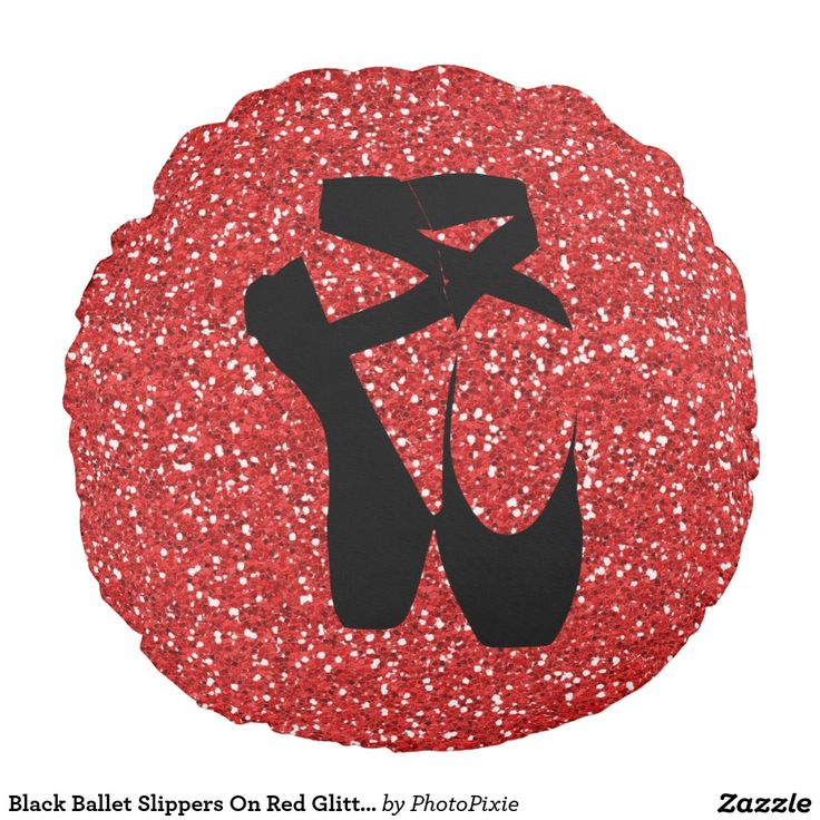 Black Ballet Slippers On  Faux Red Glitter Background Throw Pillow