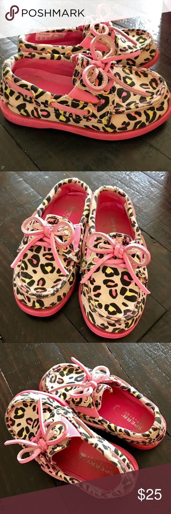 Pink Leopard Print Sperry's! Fabulously fierce, these Sperry's are the bees knees! Size 7 toddler. Used, but well kept. The only slight imperfection is the discoloration on the insoles from where the sales sticker was peeled off. The perfect shoe for the style conscious toddler or pre-schooler! Sperry Top-Sider Shoes