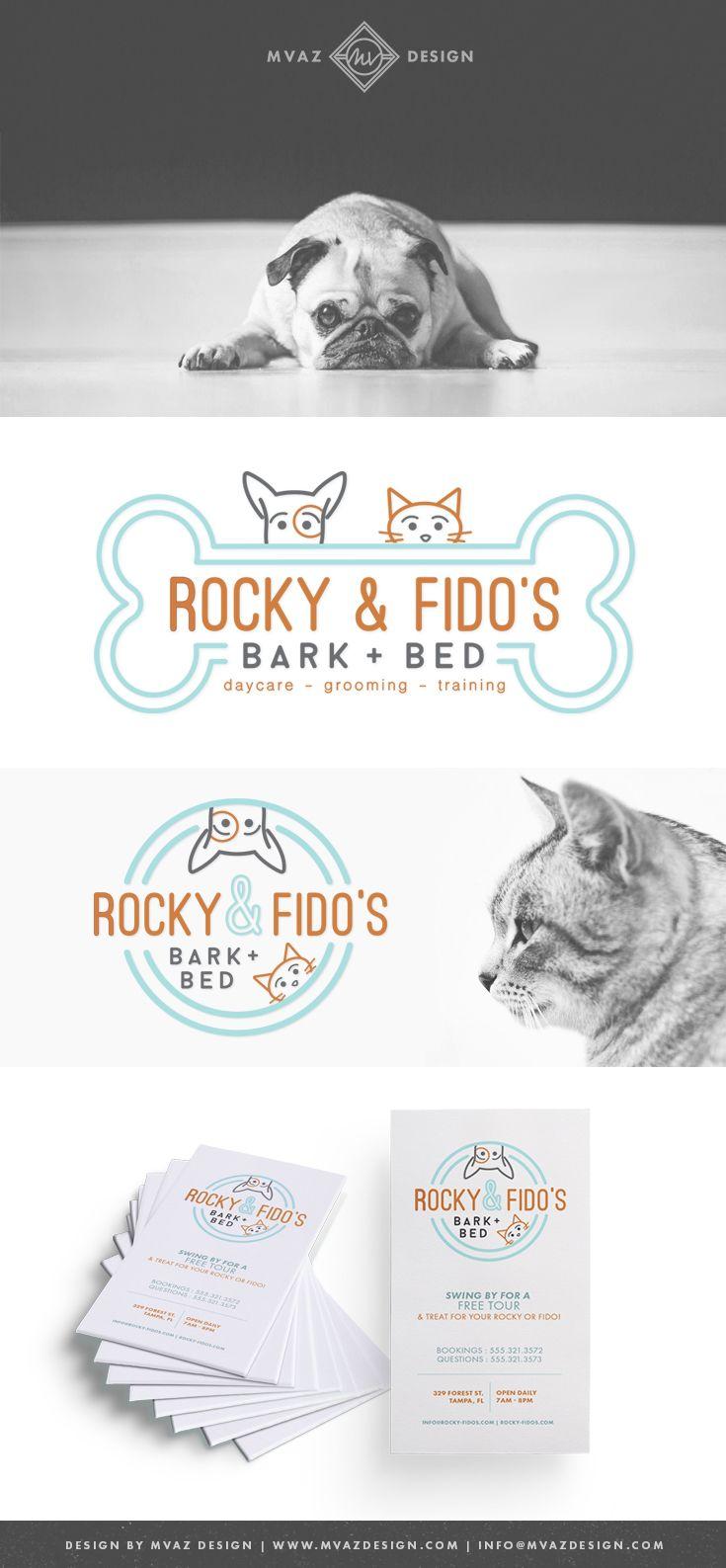 Rocky & Fido's | Bark + Bed Pet Daycare, Grooming, & Traning | Pet Business Branding | Brand Identity | Designed by: MVAZ Design