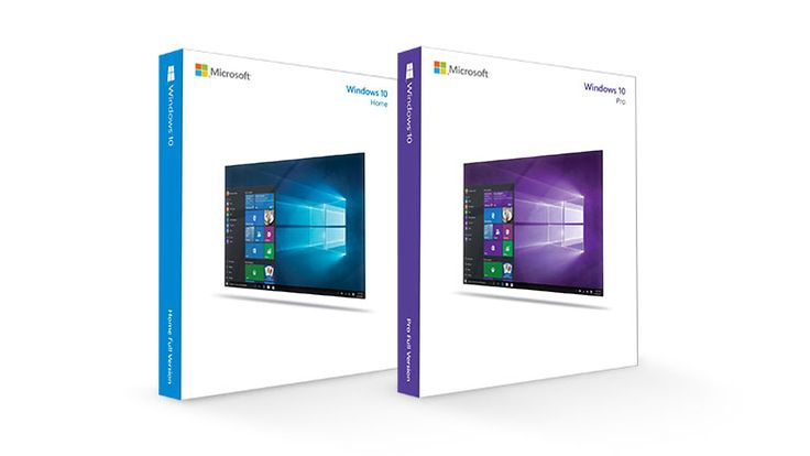 Prodcut packaging for Windows 10 Home and Windows 10 Pro editions