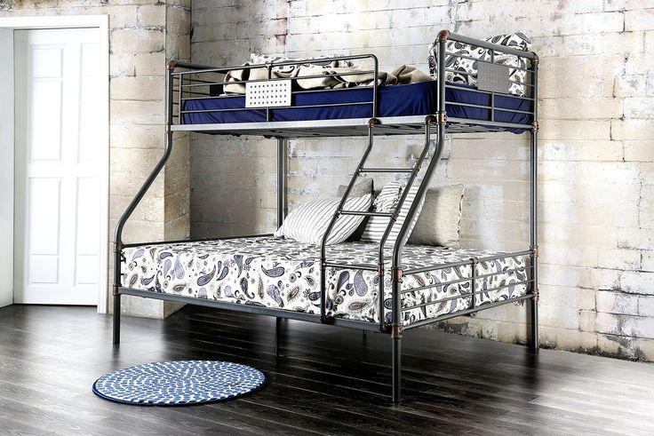 Shop the Xavier Industrial Piping Metal Twin Full Bunk Bed. Featuring a twin…