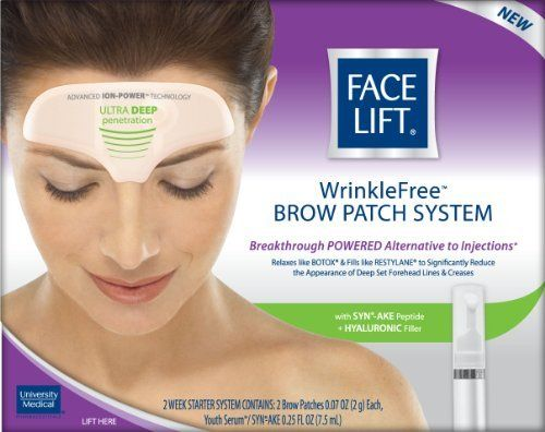 Face Lift, Wrinkle Free Brow Patch System, 1 Kit by Face Lift. $13.79. Ultra deep penetration. Reduces appearance of wrinkles without injections. Breakthrough powered alternative to injections. ION-POWER brow patches relax and fill to significantly reduce the appearance of deep set forehead lines & creases