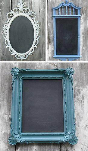 Riciclare vecchie cornici e sostituire specchio con lavagna