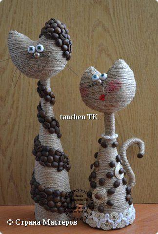 Поделка изделие Моделирование конструирование Влюбленные котейки Кофе Пенопласт Шпагат фото 1