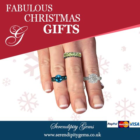 Rings in silver or gold from £55 to £1800 from Serendipitygems.  Blue topaz ring in sterling silver. £125  Ring in peridot in sterling silver £ 55  Ring in 18ct gold set with diamonds £1800