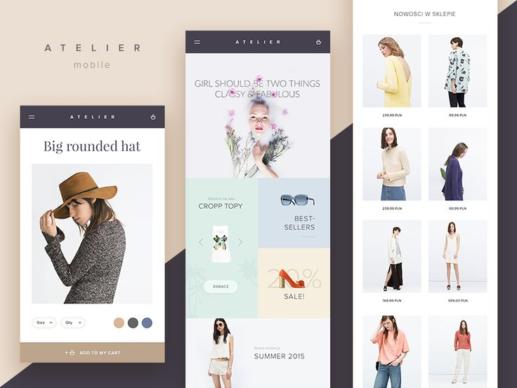 Hi Dribbblers,   I'm glad to show you 3. shot of ATELIER beauty store. This time mobile version. Enjoy!  Show love, press L   Follow me on Instagram / Like my fanpage on Facebook   5!