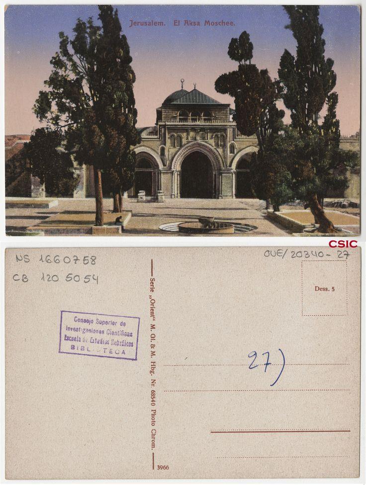 Jerusalem:  el Aksa Moschee. Editor: Hamburg: M. GL & M. Fecha: ca.1903. Serie/Tit. relacionados: Orient 68540; Vistas de Palestina. http://bvirtual.bibliotecas.csic.es/csic:csicalephbib001660758